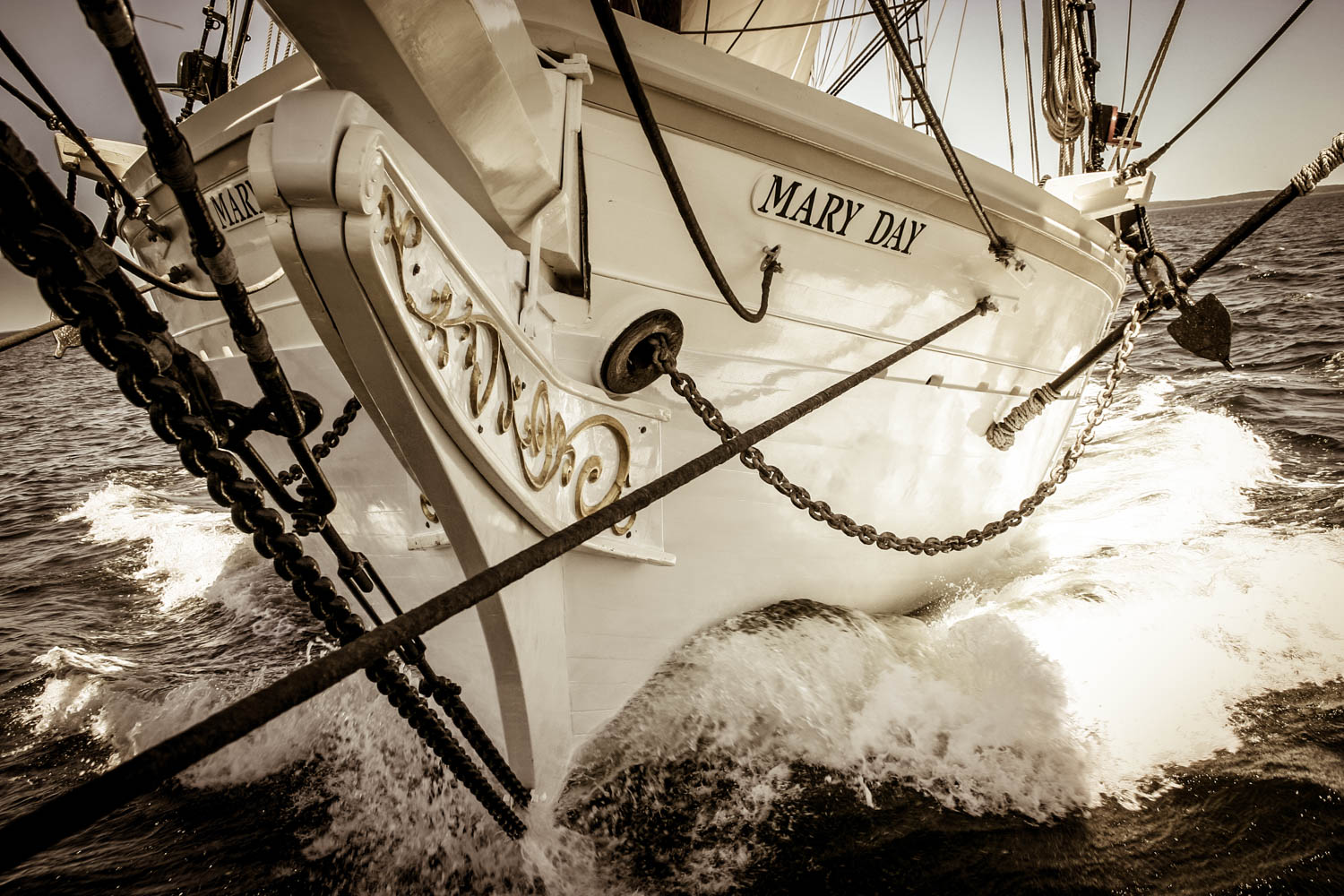 Schooner Mary Day bow shot, Penobscot Bay