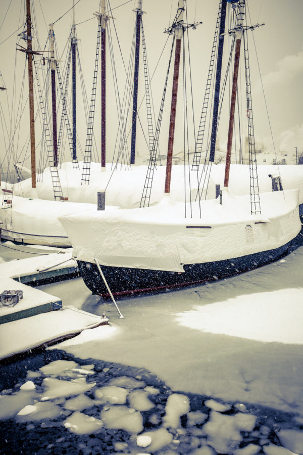 schooners in snow, rockland maine