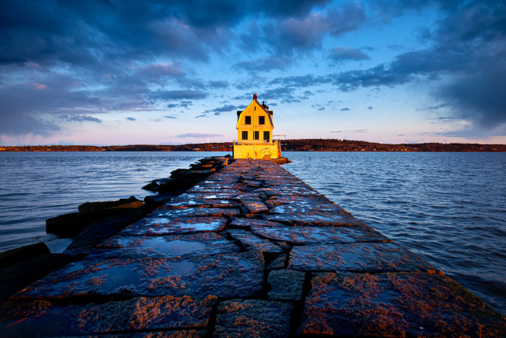 Rockland Breakwater Lighthouse at dusk