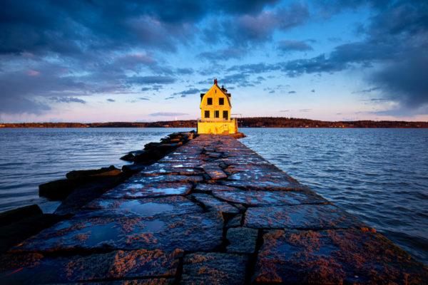 Rockland Breakwater Lighthouse at dusk